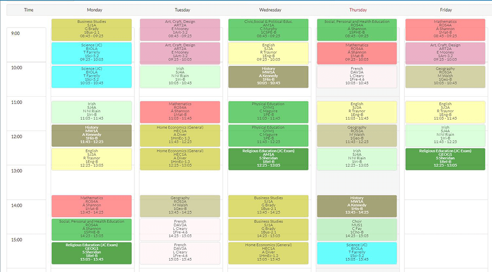 Sample Student timetable